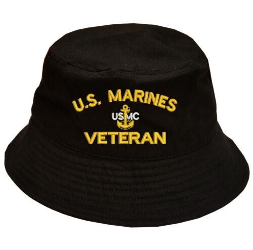 MARINES MARINE VETERAN LOGO USMC VETERAN 100/% Cotton Military Bucket Cap U.S