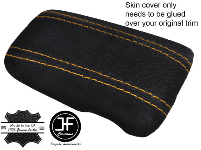 YELLOW STITCHING REAL SUEDE ARMREST LID COVER FITS MAZDA RX7 RX-7 1992-2001