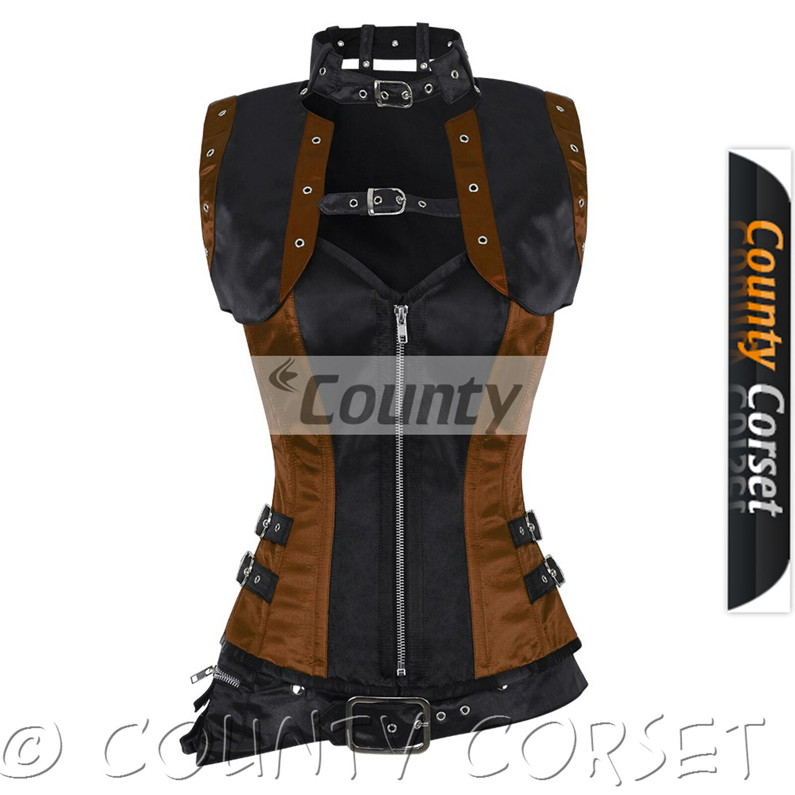 Steampunk Overbust Gothic os en acier complète schwarz braun veste boléro satin corset