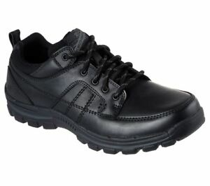 SKECHERS-Men-039-s-Relaxed-Fit-Braver-Ralson-Comfort-Leather-Shoes-in-Black
