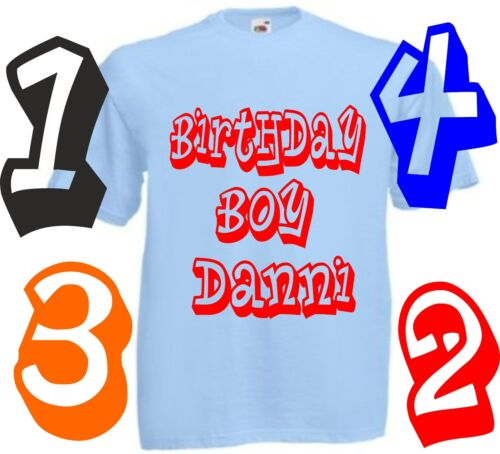 boys persoalised front and back with age birthday T SHIRT ALL SIZES AND COLOU