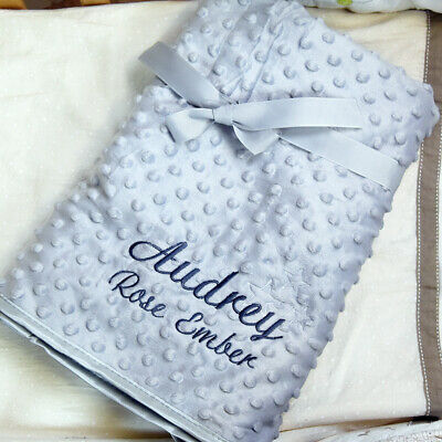 PERSONALISED BABY PRAM BLANKET with EMBROIDERED STARS AND YOUR BABY/'S NAME