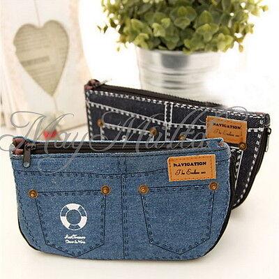 Canvas Jeans Pencil Case Makeup Bag Cosmetic Coin Pouch Purse Large Capacity J