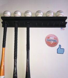 BASEBALL-BAT-RACK-11-BAT-6-BALLS-BLACK-WALL-HOLDER-DISPLAY-Wood