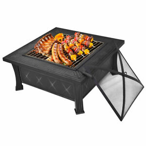 Outdoor Square Metal Fire Pit Patio Garden Fire Pit BBQ Grill - Grill table fire pit all in one