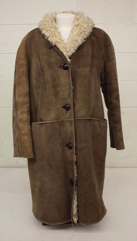 Antartex Scotland Brown Longer Cut Lambskin Coat Women's 16R GREAT Fast Shipping