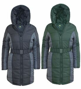 Ladies Womens Detached Fur Quilted Padded Puffa Parka Hood
