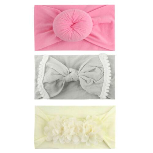 3PCS Toddler Girls Baby Turban Solid Headband Hair Band Bow Accessories Headwear