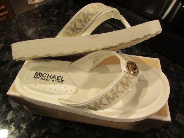 5c58d13be Michael Kors Vanilla Gage Alyx Wedge Flip Flop Sandals Girls Size 2y ...