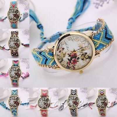 Women Braid Knit Bracelet Flower Butterfly Dial Quartz Chain Wrist Analog Watch