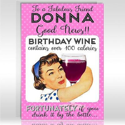 Female Birthday Card Funny Drink Wine Personalised Auntie Friend Sister Mum Ebay