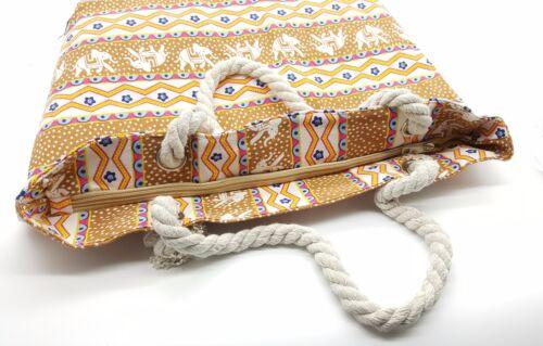 Manijas de cuerda de impresión de Lona Bolsa De Playa Shopper Bolso Vacaciones Viaje Grande Estilo
