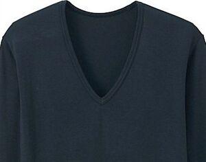 20cd92e4b UNIQLO Men's HEATTECH Long-Sleeve V-Neck T-Shirt S NVY Stretch Under ...