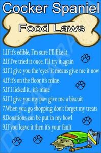 COCKER-SPANIEL-FOOD-LAWS-Novelty-Laminated-Sign-Ideal-Gift-Present