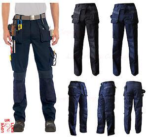 Nuevo-para-hombre-Heavy-Duty-Cargo-Pantalones-De-Contraste-Ropa-De-Trabajo-Rodilleras-Bolsillos-de