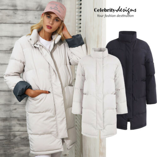 AU Ladies Puffer Padded Winter Coat Black Hooded Long Quilted Jacket 10 12 14 16