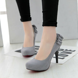 Womens-Slip-On-Round-Toe-Suede-Pumps-High-Heels-Platform-Solid-Mary-Jane-Shoes