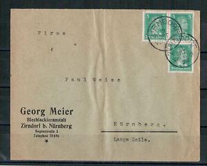 Deutsches-Reich-Firmenbrief-MiNr-387-MeF-Zirndorf-nach-Nuernberg-03-10-1928
