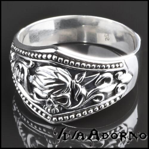 925 Silber Ring Totenkopf Skull Pirat Biker Gothic Rock Daumenring SR29