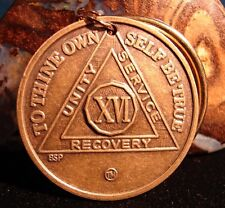 Alcoholics Anonymous AA 16 Year  Keychain medallion coin Token bronze key chain