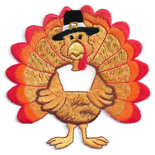"""Turkey Thanksgiving Fully Embroidered Iron On Applique Patch ~   3  7//8/"""""""