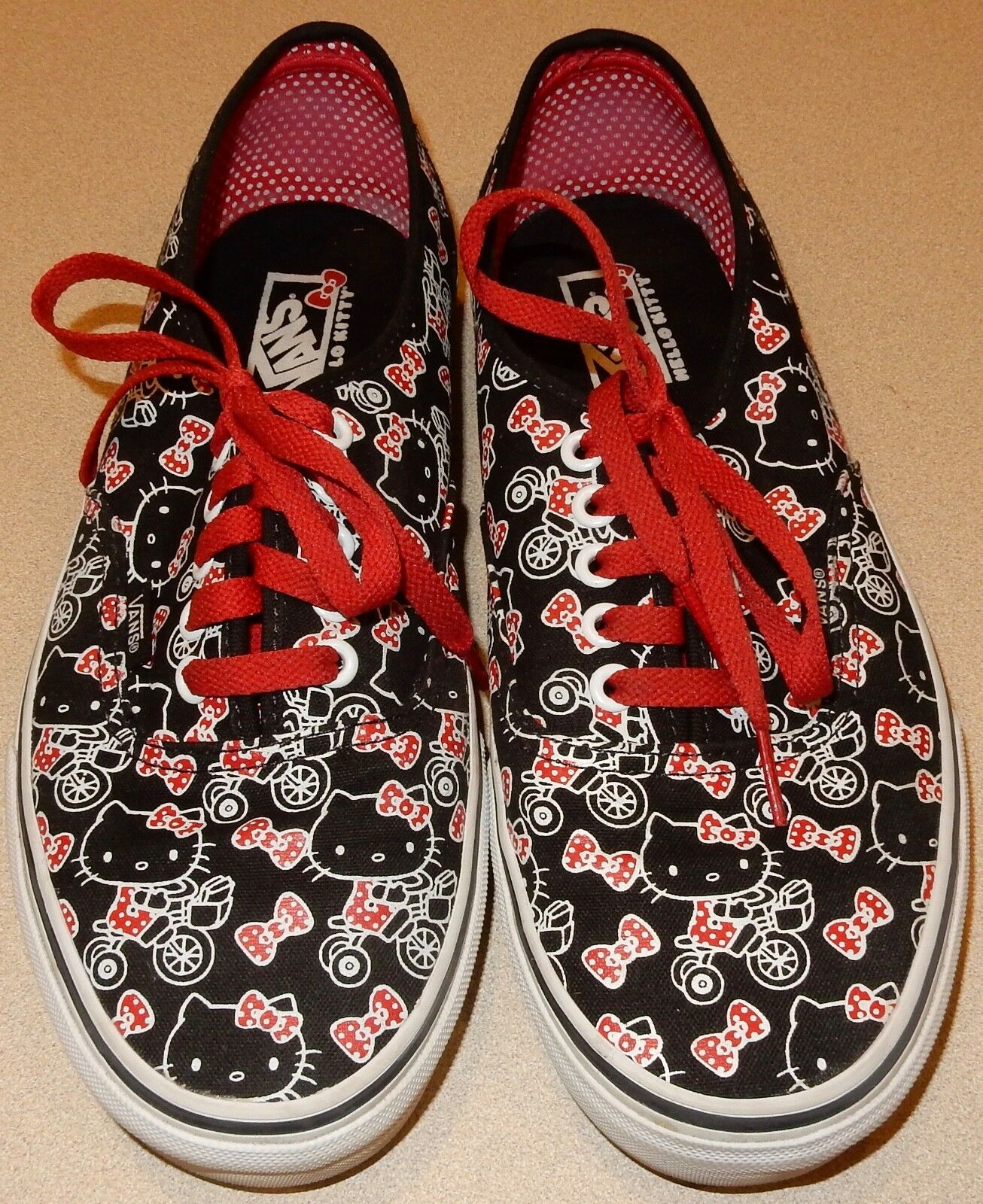 Red and Black Hello Kitty Vans Womens Size 9.5 Shoes