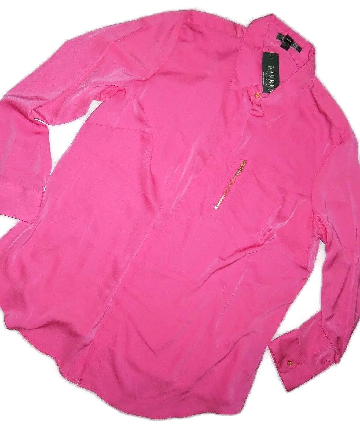 Ralph Lauren Rosa zip pocket long sleeve blouse shirt plus Größe 2X  retail