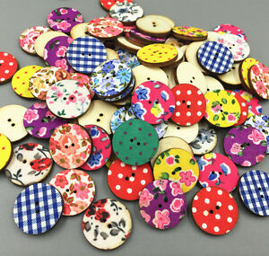 Retro Wooden Cloth Printing Round buttons Sewing Scrapbooking decoration 20mm
