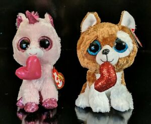 NEW Lot of (2) Valentine's Day Ty BEANIE BOOS Smooches Puppy & Darling Unicorn