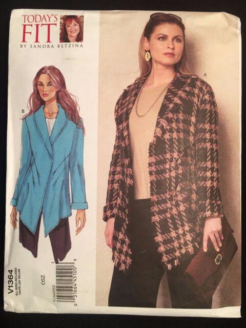 nuevo un tamaño Vogue Sewing Pattern 1364 dobladillo en forma de fácil Sandra betzina chaqueta