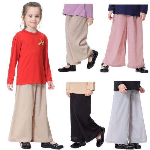 Pants Trousers Casual High Waist Solid Color Linen Blends Kids Palazzo Girls