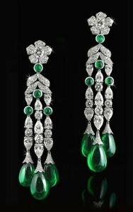 9Ct-Cabochon-Cut-Emerald-Simlnt-Diamond-Chandelier-Earrings-White-Gold-FN-Silver