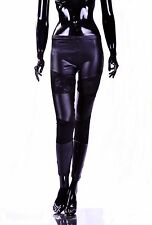 Damen Hose Glanz Lack Leder Leggings BLACK mit SpitzeTreggings Gogo Party