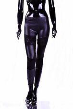 Damen Hose Glanz Lack Leder Leggings BLACK mit SpitzeTreggings Gogo Party