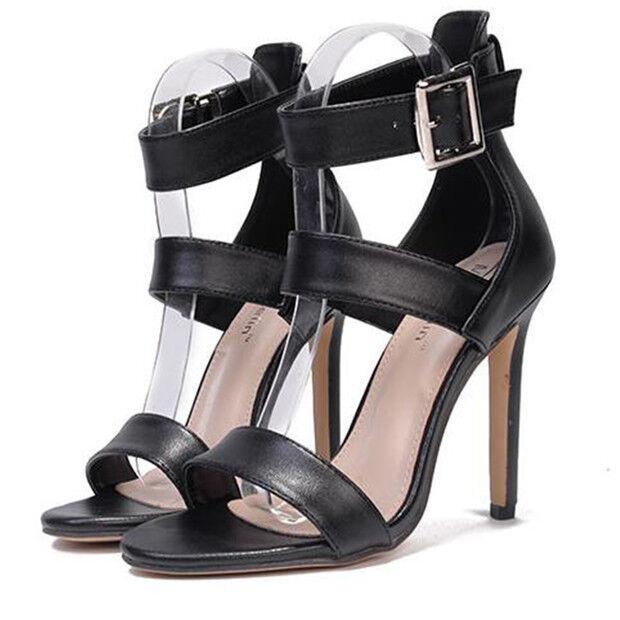 Sandale eleganti tacco stiletto 11 cm nero simil pelle eleganti 9800