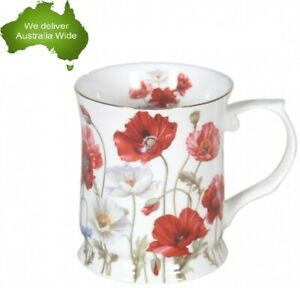 Fine-Bone-China-415cc-Poppies-Coffee-Tea-Cup-Mug-Mothers-Day-Easter-Gift-White