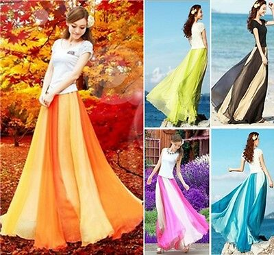 New Womens 2 Layer Pleated Retro Maxi Dress Beach Boho Long Elastic Waist Skirt