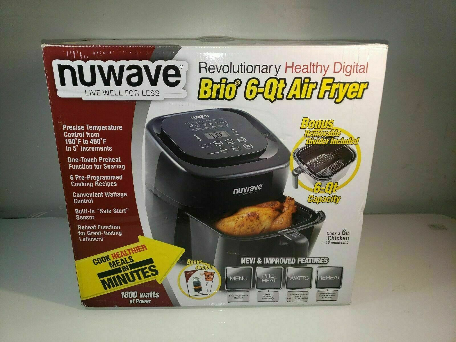 NEW NUWAVE BRIO 6QT DIGITAL AS SEEN ON TV AIR FRYER BLACK 37001 1800 WATTS OVEN