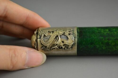 Exquisite Chinese handwork old Tibet-Silver Carved Dragon antique Jade Flute