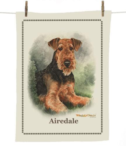 Airedale Terrier 100/% Cotton Tea Towel Portrait by Christine Varley 63