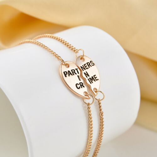Celeb 2pc Set Partners in Crime Heart Charm Anklet Ankle Bracelet Chain Jewelry