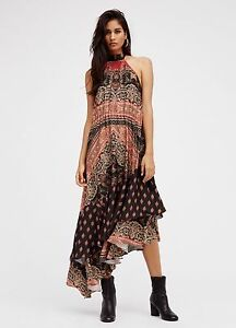 NEW Free People Painted Flowers  Paisley Halter Midi Dress Asymmetrical XS S M L