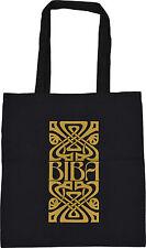 VINTAGE STYLE BIBA KENSINGTON LOGO SHOPPING ECO TOTE BAG BLACK COTTON GOLD PRINT