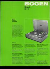 Super Rare Factory Original Bogen B-111 Stereo Turntable Dealer Sheet