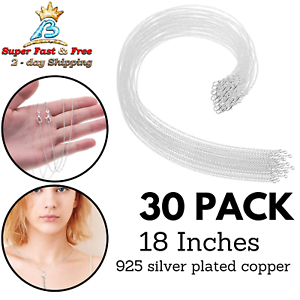 Cable Chain Pack for Jewelry Making 18 Inches 30 Pack Silver Plated Necklace Chains Bulk