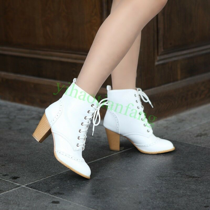 Womens Ankle Lolita Boots Round Toe Lace Up Chunky Mid Heels Brogues shoes 4-13