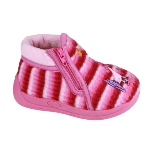 Mirak safari unisexe enfants licorne confort côté fermeture éclair bootie pantoufles rose
