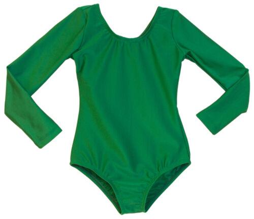 Child/'s Kelly Green Scoop Neck Low Sheen Long Sleeve Leotard Girls