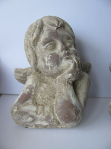 Putten 10,5 x 9,25 cm 2 Engel Köpfe für Garten und Wohnung Beton Dekoration