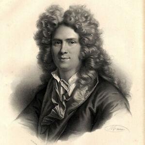 Portrait-In-Folio-Ecrivain-Antoine-Houdar-de-La-Motte-Lithographie